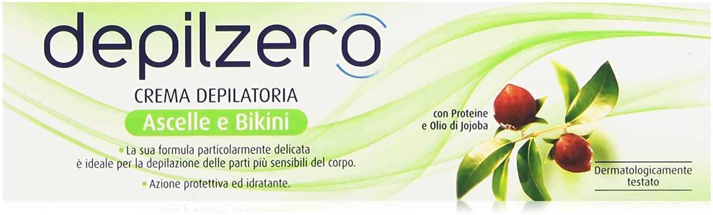 Depilzero Crema Depilatoria Ascelle e Bikini, con Proteine e Olio di Jojoba